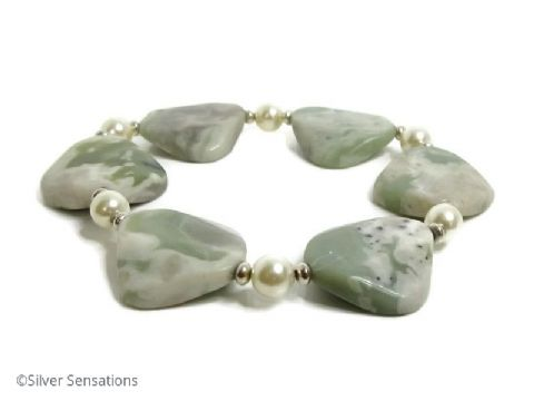 "Green & Cream Peace Jade Bracelet With Twisted ''Diamonds"" & Swarovski Pearls"